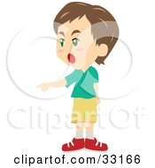 Clipart Illustration Of A Brunette Boy Shouting And Pointing To The Left