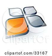 Pre-Made Logo Of An Orange Square Or Petal Standing Out From Gray Ones