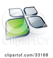 Clipart Illustration Of A Pre Made Logo Of A Green Square Or Petal Standing Out From Gray Ones