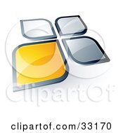 Clipart Illustration Of A Pre Made Logo Of A Yellow Square Or Petal Standing Out From Gray Ones by beboy