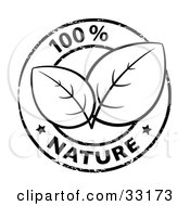 Clipart Illustration Of Two Lush Leaves In The Center Of A 100 Percent Nature Stamp With Two Stars