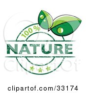 Clipart Illustration Of A Green 100 Percent Nature Stamp With Three Stars And Two Green Leaves With Drops Of Dew
