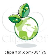 Clipart Illustration Of Organic Leaves Sprouting From A Green Globe