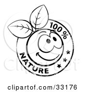 Clipart Illustration Of A Black And White Stamp Of A Happy Organic Smiley Ball With Leaves And 100 Percent Nature Text