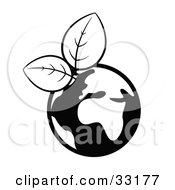 Clipart Illustration Of A Black And White Globe Sprouting Fresh Leaves