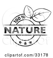 Clipart Illustration Of A Black And White 100 Percent Nature Stamp With Three Stars And Two Leaves