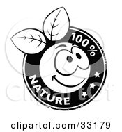 Clipart Illustration Of A Black And White Organic Smiley Ball With Leaves Stamp And 100 Percent Nature Text And Stars