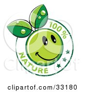 Stamp Of A Happy Green Organic Smiley Ball With Leaves And 100 Percent Nature Text With Stars