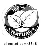 Clipart Illustration Of A Black And White 100 Percent Pure Nature Stamp With Two Stars And Organic Leaves In The Center