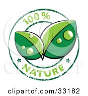 Clipart Illustration Of Two Lush Green Organic Leaves With Dew In The Center Of A 100 Percent Nature Stamp With Two Stars
