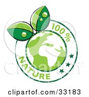 Clipart Illustration Of Dew Drops On Organic Leaves Growing From A Green Globe Circled By Stars And 100 Percent Nature Text