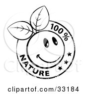 Clipart Illustration Of A Black And White Organic Smiley Ball With Leaves Stamp And 100 Percent Nature Text