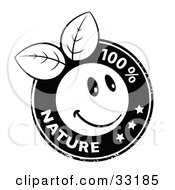 Clipart Illustration Of A Black And White Stamp Of An Organic Smiley Ball With Leaves Stars And 100 Percent Nature Text