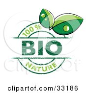 Clipart Illustration Of A 100 Percent Bio Nature Stamp With Two Green Dew Covered Leaves On A White Background