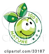 Clipart Illustration Of A 100 Percent Nature Stamp With A Happy Green Organic Smiley Ball With Leaves And Stars
