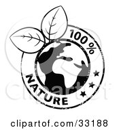 Clipart Illustration Of Black And White Fresh Leaves Growing From A Globe Circled By Stars And 100 Percent Nature Text