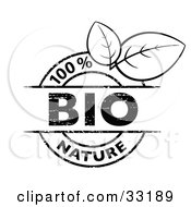 Clipart Illustration Of A Black And White 100 Percent Bio Nature Stamp With Two Leaves On A White Background