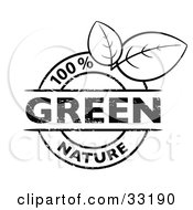 Clipart Illustration Of A Black And White 100 Percent Nature Stamp With Two Leaves