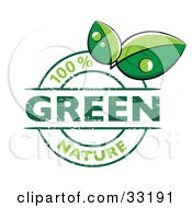 Clipart Illustration Of A Green 100 Percent Nature Stamp With Two Dew Covered Leaves