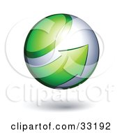 Clipart Illustration Of A Silver 3d Sphere Circled By A Green Arrow