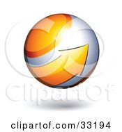 Clipart Illustration Of A Silver 3d Sphere Circled By A Yellow Arrow