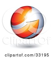 Clipart Illustration Of A Silver 3d Sphere Circled By An Orange Arrow