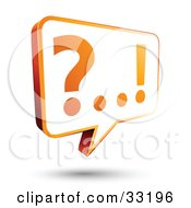 White And Orange Instant Messenger Chat Window With A Question Mark And Exclamation Point On The Screen