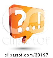 Question Mark And Exclamation Point Appearing On An Orange Instant Messenger Chat Window