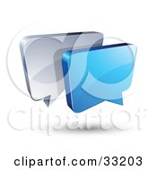Blue And Silver Instant Messenger Boxes Communicating