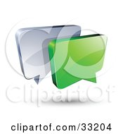 Green And Silver Instant Messenger Boxes Communicating