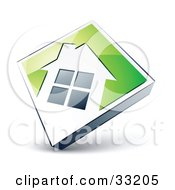 Clipart Illustration Of A White House Icon On A Green Diamond
