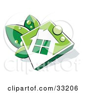 Clipart Illustration Of A White And Green Diamond House Icon With Dew Drops Resting On Leaves