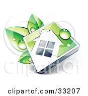 Clipart Illustration Of Dew On A White House Icon On A Green Diamond Resting On Green Leaves