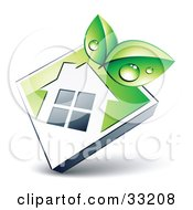 Clipart Illustration Of Green Dewy Leaves Over A White House Icon On A Green Diamond by beboy