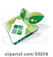 Clipart Illustration Of Two Green Leaves Wet With Dew Over A White House Icon On A Green Diamond
