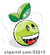 Clipart Illustration Of A Green Organic Smiley Ball With Leaves Laughing