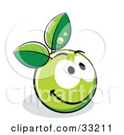 Clipart Illustration Of A Friendly Smiling Green Organic Smiley Ball With Leaves