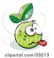 Clipart Illustration Of A Grossed Out Green Organic Smiley Ball With Leaves
