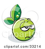 Clipart Illustration Of A Gloomy Green Organic Smiley Ball With Leaves