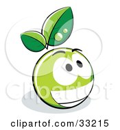 Clipart Illustration Of A Grinning Green Organic Smiley Ball With Leaves