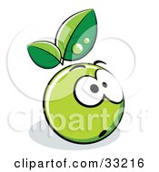 Clipart Illustration Of A Shocked Green Organic Smiley Ball With Leaves