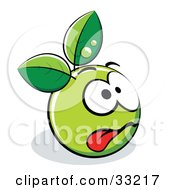 Clipart Illustration Of An Exhausted Green Organic Smiley Ball With Leaves