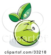 Clipart Illustration Of A Winking Green Organic Smiley Ball With Leaves
