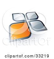 Clipart Illustration Of One Orange Petal Standing Out From Three Silver Petals