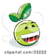 Clipart Illustration Of A Laughing Green Organic Smiley Ball With Leaves