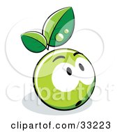 Clipart Illustration Of A Nervous Green Organic Smiley Ball With Leaves