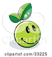 Clipart Illustration Of A Happy Green Organic Smiley Ball With Leaves