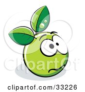 Clipart Illustration Of An Anxious Green Organic Smiley Ball With Leaves