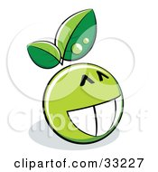 Clipart Illustration Of A Proud Grinning Green Organic Smiley Ball With Leaves
