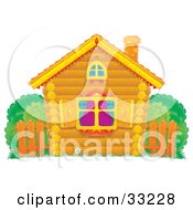 Clipart Illustration Of A Small Log Home With Diamond Shutters A Wooden Fence And Bushes In The Yard by Alex Bannykh